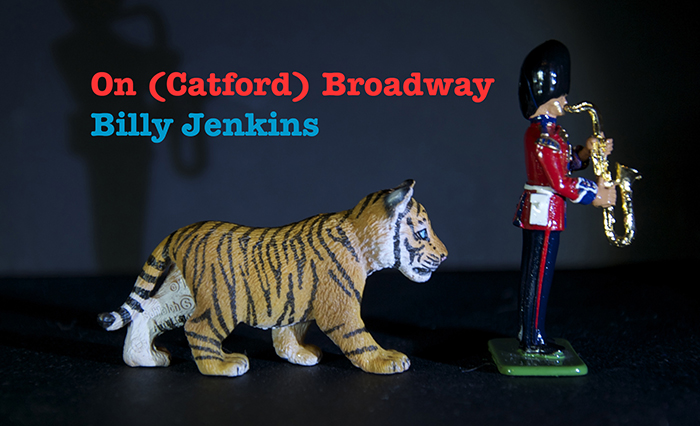 Catford Broadway video thumbnail showing toy saxophone player being chased by a toy tiger cub