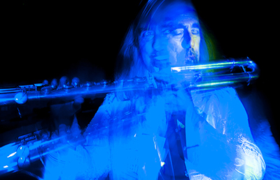 Light painting of flute player Eddie Parker by Beowulf Mayfield