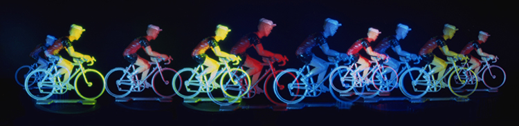 Multiple exposure of toy cyclist taken with a pinhole camera