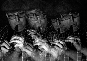 Music practise photography project. Multiple exposure self-portrait by Beowulf Mayfield